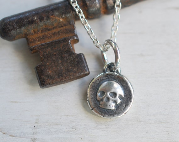 tiny skull pendant - layered skull wax seal necklace - sterling silver skull wax seal jewelry