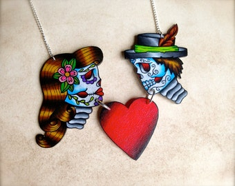tattoo style day of the dead sugar skull charm necklace true love boy and girl love heart