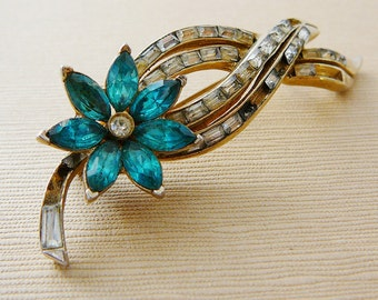 Vintage .. Signed Coro Flower Brooch Aqua Blue Clear Rhinestones