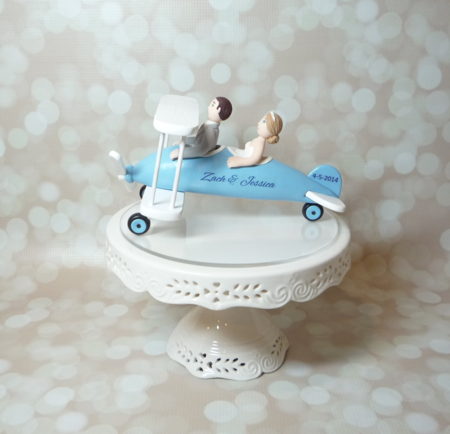 Plane Wedding Cake Topper Airplane Bride And Groom