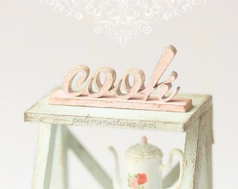 Dollhouse Miniature - Wood Letters - Free Standing Distressed Wooden Letters - COOK