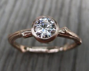 Moissanite Branch Engagement Ring: Rose Gold; .50ct Forever Brilliant ™