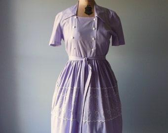 Vintage 1950s Dress / Violet Day Dress