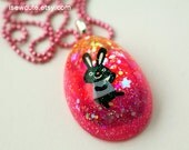 Easter Necklace, Easter Bunny Jewelry, Easter Egg Easter Bunny Pendant Gift for Girl, Handmade One of a Kind Resin Necklace by isewcute