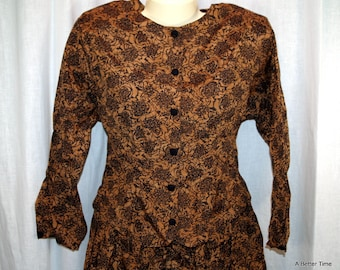 Two piece outfit /dress -  blouse top and skirt by Synari size small brown black flowered print