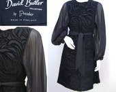Vintage 60s Cocktail Dress Black Flocked Chiffon Evening Dress 1960s David Butler by Pressler Cocktail Dress Size Small UK 10