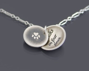 Paw Print/ Love Walks on Four Paws Necklace, Etched Sterling Silver Pet Lover Necklace, Dog Paw Pendant, Cat Paw Pendant