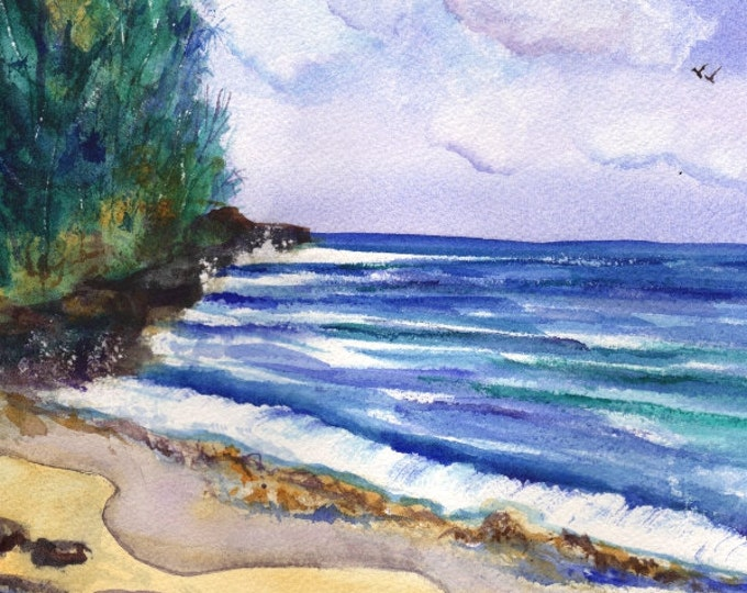 Mahaulepu Beach Art,  Beach watercolors, Beach original paintings, Kauai ocean art, tropical beach art, Hawaiian artwork, decor