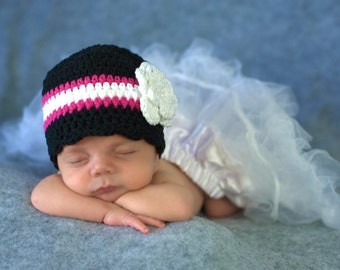 Baby Girl Hat 0 to 3 Month Black Baby Hat Hot Pink White Crochet Flower Hat Flapper Beanie Photo Prop Baby Girl Clothes Baby Girl Beanie