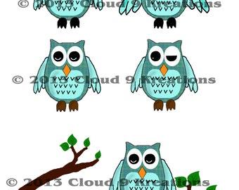Aqua Owls Digital Collage Sheet