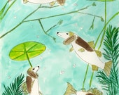 The ever elusive basset fish.   Limited edition print of an original painting by Vivienne Strauss.