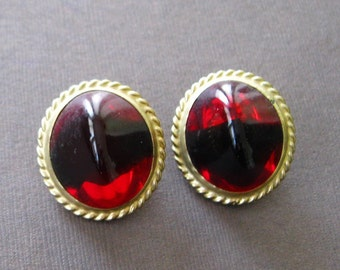 Vintage Oval Red Glass Clip On Earrings Byzantium Baroque Game Throne Jewelry