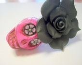 Gigantic Fuschia Sugar Skull and Black Rose Day of the Dead Pendant or Ornament