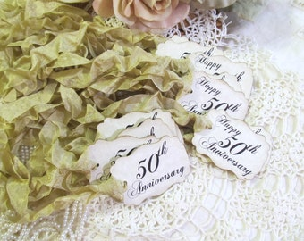 50th Wedding Anniversary Gift Tags : Happy 50th Anniversary Parchment Party Favor TagsSet of 18Choose ...