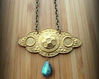 Brass Art Deco Labradorite Chain Necklace Fancy Cloud