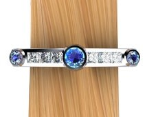 Alexandrite & Diamond Ring in Platinum - Natural Genuine Alexandrite with Princess Diamonds - Free Gift Wrapping