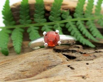 Spessartite Garnet Ring in Sterling Silver, Round Genuine Orange Garnet - Free Gift Wrapping