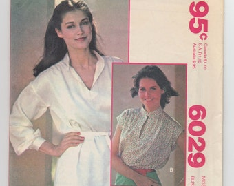 Vintage Sewing Pattern 1980's Ladies' Blouses Size 14 McCall's 6029 - With FREE Pattern Grading E-book