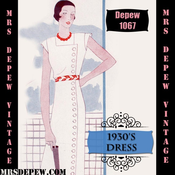 1930s Fashion Colors & Fabric 1930s Dress in Any Size Depew 1067 Draft at Home Pattern - PLUS Size Included -INSTANT DOWNLOAD- $8.50 AT vintagedancer.com