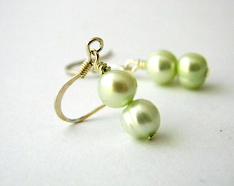 Mint Green Freshwater Pearl Earrings Dangle Earrings