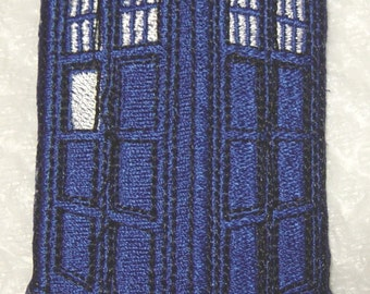 """Blue Police Box - TARDIS - Dr. Who -  Embroidered Iron on Applique - Patch 4"""" x 2.25"""""""