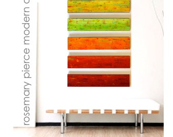 Original Art | Painted Wood Wall Panels in Red Orange Yellow Lime | Wood Wall Sculpture | Lobby Art | Rosemary Pierce Modern Art