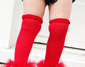 """Red Ruffle Tutu Tights - Girls ruffle lace and tutu leg warmers - Perfect for Birthdays, Photos - Fits girls size 6m to 6X approx 12"""" long"""
