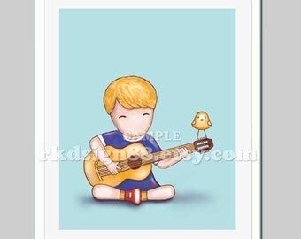 Music art childrens wall art, baby boy nursery decor, nursery art, guitar art, music room, kids room blonde acoustic Guitar Lesson 8x10