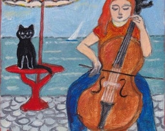 Cellist by the Sea with Black Cat