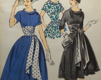 Gorgeous 1950's ADVANCE Pattern American Designer John Moore Extra Full Skirt Swing Dress Cummerbund Sash Cowl Neckline UNCUT FF Rockabilly