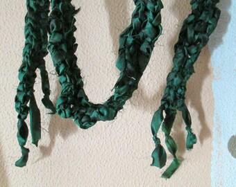 SILK SKINNY SCARF Emerald Green Crochet Rocker Camo