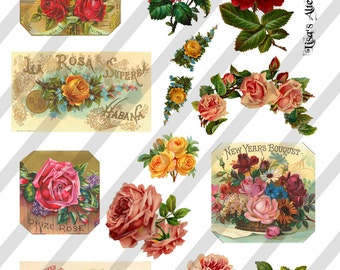Digital Collage Sheet Vintage Floral Images (Sheet no. O48) instant Download