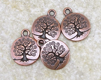 20 Tree of Life Charms TierraCast Antique Copper Charms Copper Tree of Life Drops Tierra Cast Nature Woodland Yoga Charms Meditation (P785)