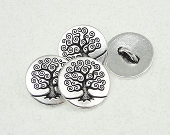 20 Tree of Life Buttons TierraCast Antique Silver Button Findings (PF528)