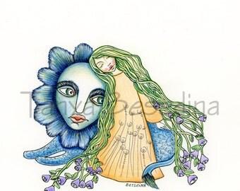 My Secret Date Blue Lion Print from my original illustration 8x10 by Tanya Besedina