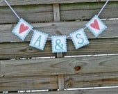 Bride and Groom's Initals Bunting - Wedding Banner - Customized to your wedding colors