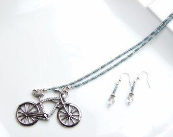Gem Set Bicycle Bike Jewellery SET - Denim Blue & Silver Necklace and Earrings