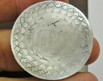 Antique Asian Mother of Pearl GAMING Piece, GAMBLING CHIP, Counter, Hand Engraved, 31mm, Number 4, wonderful condition
