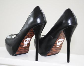 Zebra Print and Skull Stilettos, Hand Painted Peep Toe Heels, Edgy and Feminine Womens Size 7.5