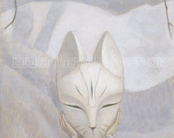 Fox Art, Fox Mask Fine Art Print, Forest Painting - We Hide in the Forest (Fox)