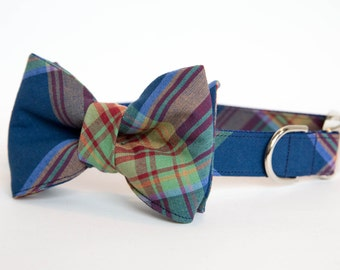 Dog Bow Tie Collar - Deep Blue Plaid