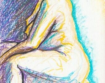 Artistic Nude Art, Fine Art Nude, Sensual Nude Art, Female Figure Drawing, Oil Pastel Painting, Original Art Nude, Blue and Yellow,