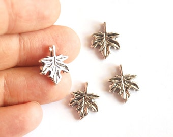 10pcs Matte Silver Plated Base  Sycamore Leaves Charms -LEAF 12x8mm-(400-016SP)