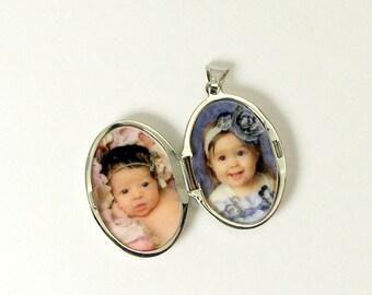Sterling Silver Scroll Locket/ Oval Photo LocketLocket/ Graduation Gift