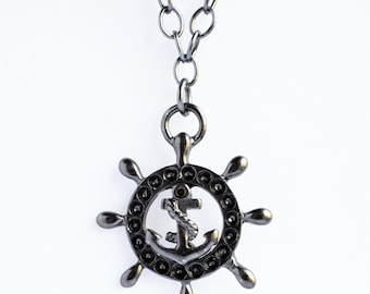 Nautical gunmetal anchor and ship wheel charm necklace