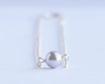 Lavender purple single Swarovski pearl delicate minimal necklace on silver curb chain