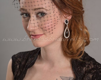 Black French Net Mini Bridal Birdcage Veil, Bridal Rhinestone Comb, Wedding Birdcage Veil and Fascinator