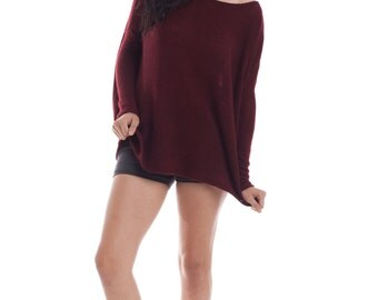 Oversize Raglan Sweater - Maroon Top, Sweater, Long sleeve, Off the shoulder, Handmade Tops