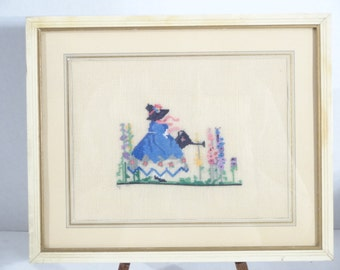 Vintage Mary Mary Quite Contrary Needlepoint..Nursery Decor..Nursery Rhyme Needlepoint..Child Room Decor..Vintage Wall Decor..Interior Art