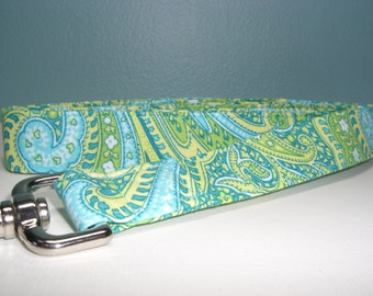 Blue and Green Seafoam Paisley Dog Leash